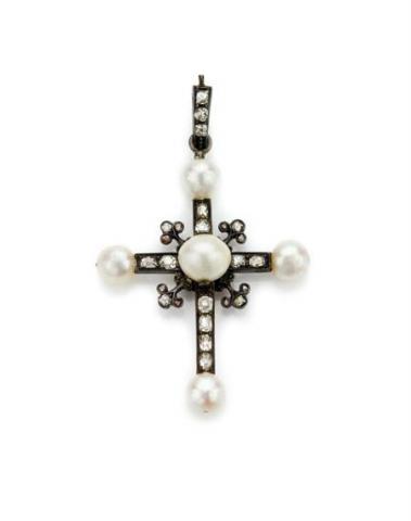 Antique Pearl and Diamond Cross Pendant
