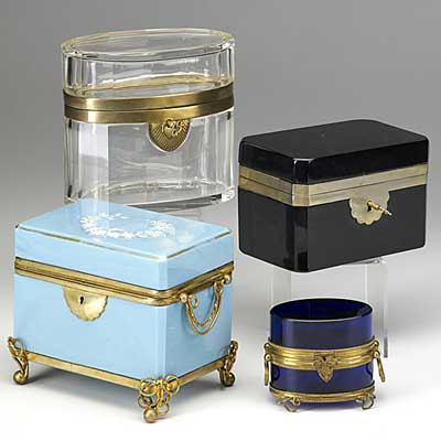 FOUR GLASS CASKETS; Blue opaline...