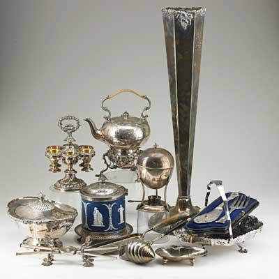 ANTIQUE SILVER-PLATE; Twelve items,...