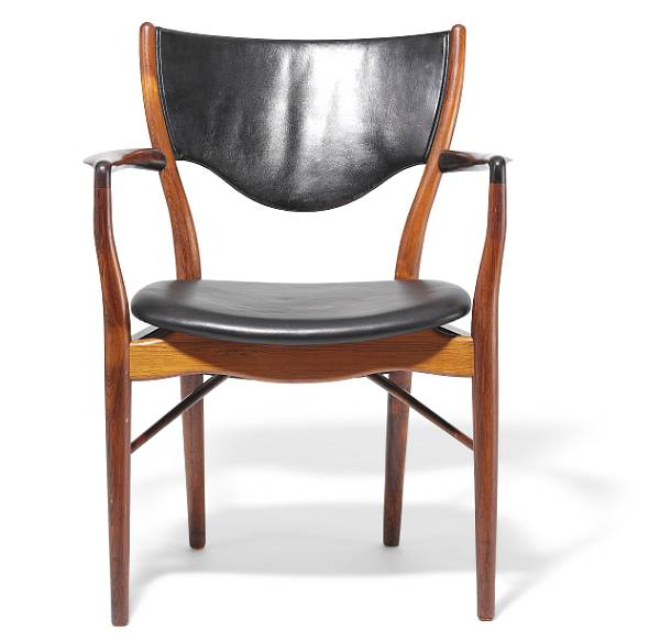"""Finn Juhl: """"BO 72"""". Armchair with Brazilian rosewood frame. Seat and back upholstered with black leather."""
