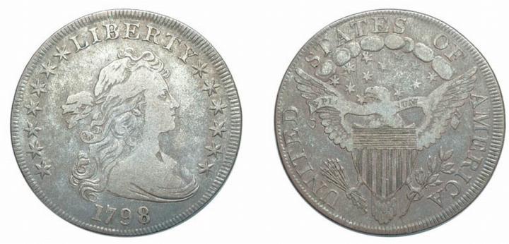 1798, Draped Bust Dollar, Large Eagle, Ten Arrows