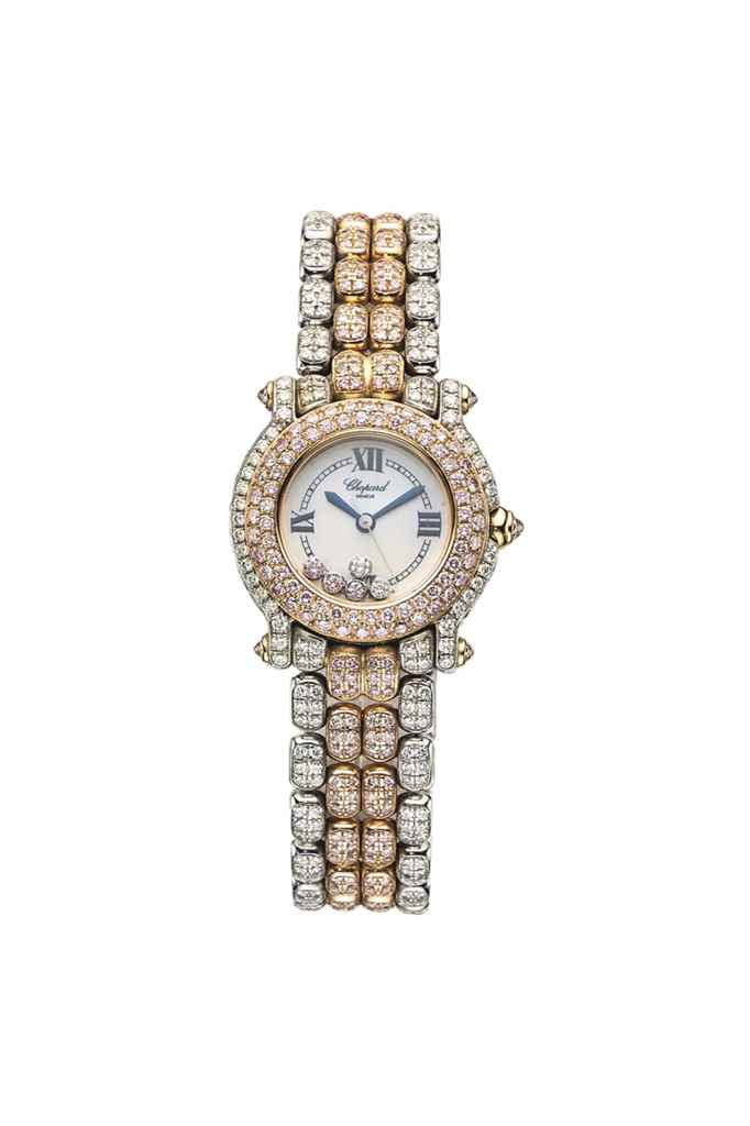 A COLOURED DIAMOND, MOTHER-OF-PEARL AND DIAMOND 'HAPPY SPORT' WRISTWATCH, BY CHOPARD