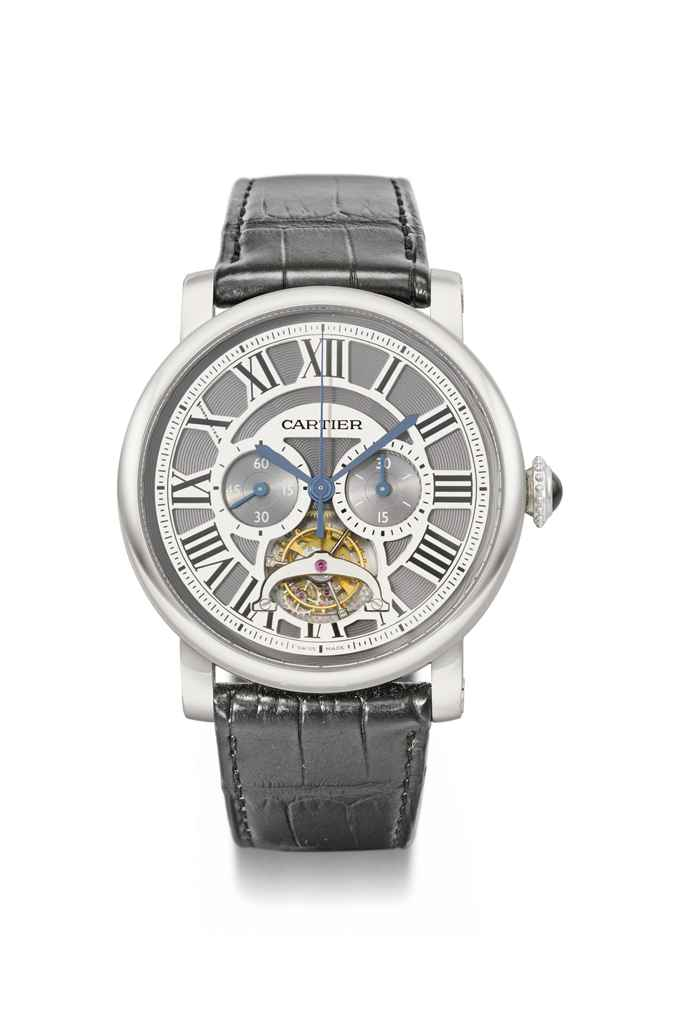 Cartier. A very fine and extremely rare platinum limited edition skeletonized single button chronograph wristwatch with flying one minute tourbillon