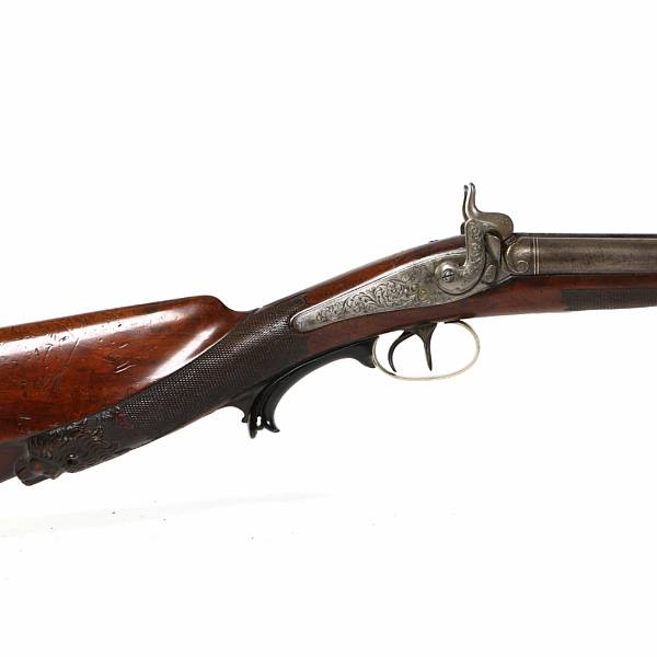 A fine Belgian double barreled percussion hunting gun c. 1850.