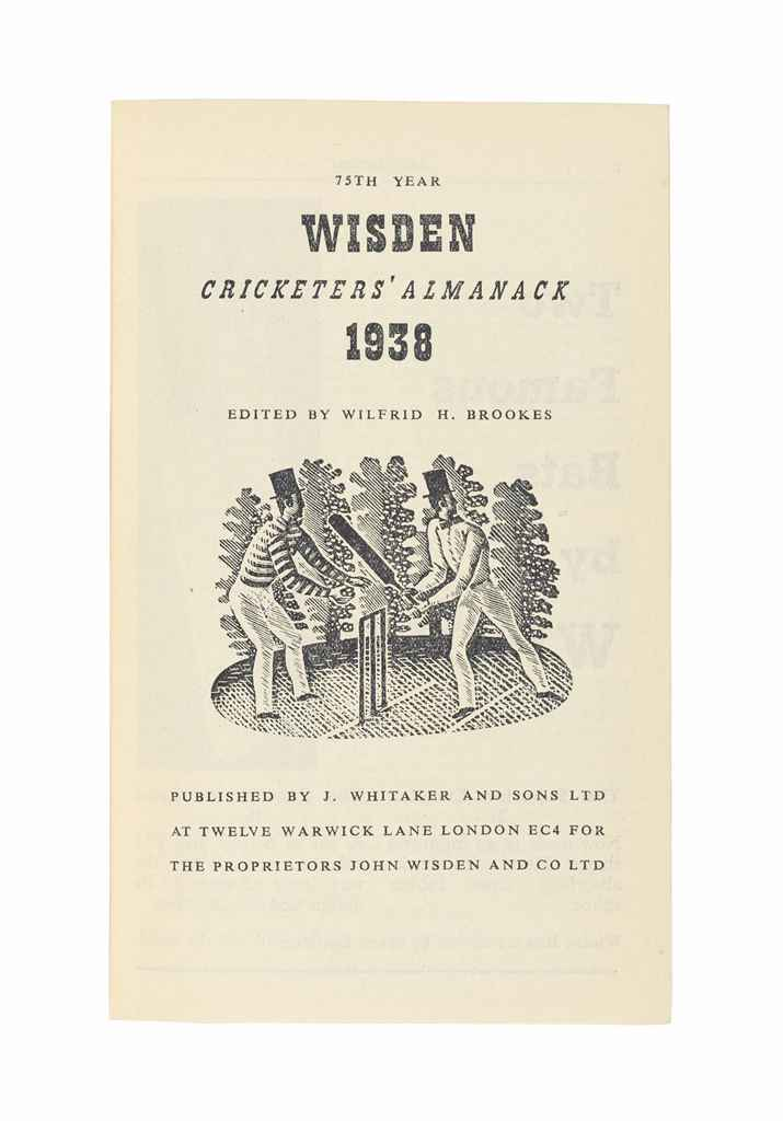 WISDEN, John. Cricketers' Almanack for 1934[-1940]. London: John Wisden and Co. [J. Whitaker from 1938], 1934-1940. 7 volumes, 8° (160 x 98mm).  (1934 and 1938 with some corners creased.) Photographic plate in first 4 vols., the rest with illustrations interspersed. Original printed wrappers (1934-35), and original brown hardback publisher's cloth gilt (both softbacks with light chipping to spines, 1936 with faded spine lettering and twisting to block, also small nick to spine and bumping to edges, 1937-1938 with bubbling to covers, corners of 1938 bumped, 1939-40 with faded spine lettering, 1940 with small nick and light scuff marks). Provenance: 1936 with bookplate of Henry M. Cohen.