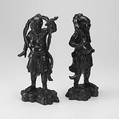 JAPANESE BRONZE STATUES; Pair of...