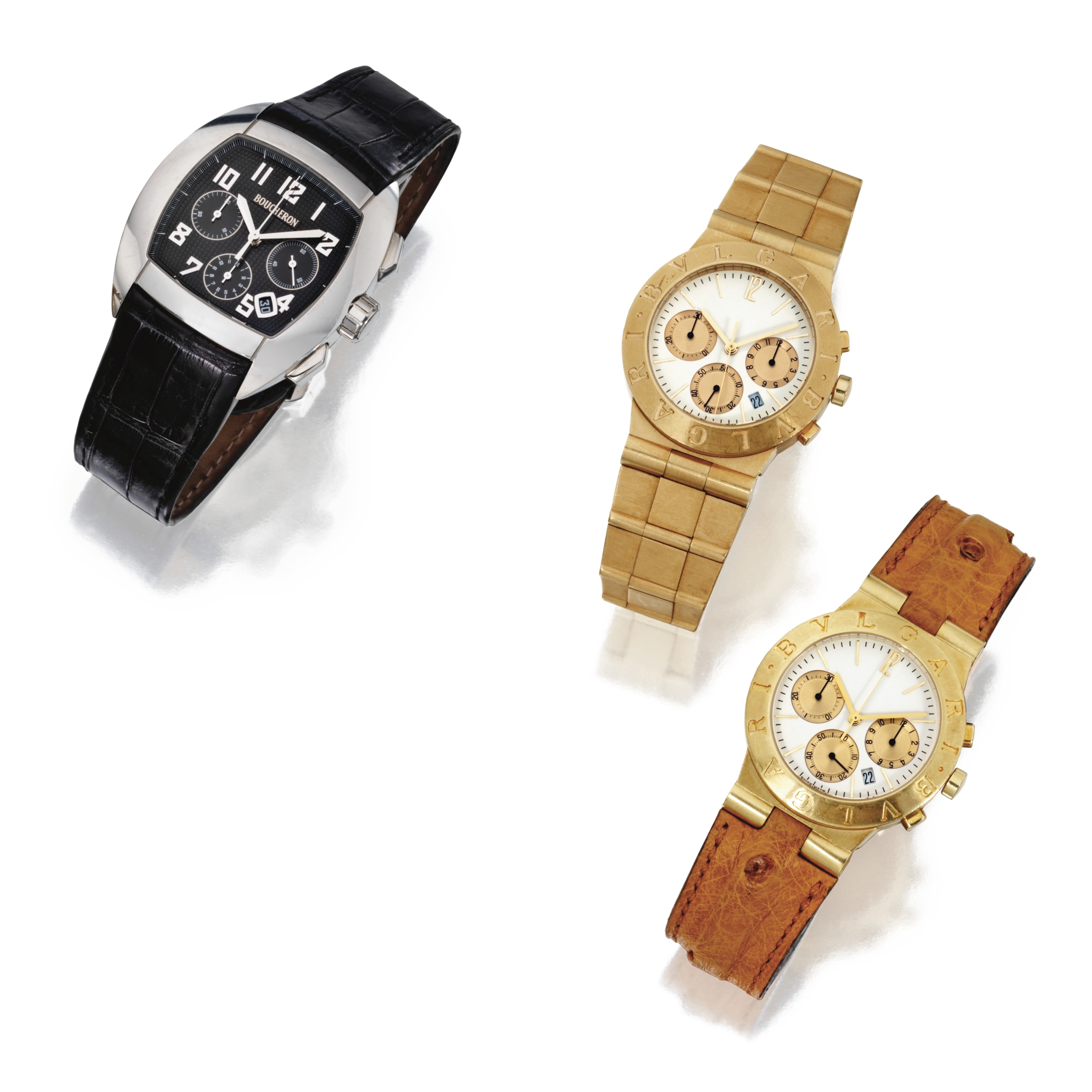 Three Wristwatches, Boucheron, and Bulgari