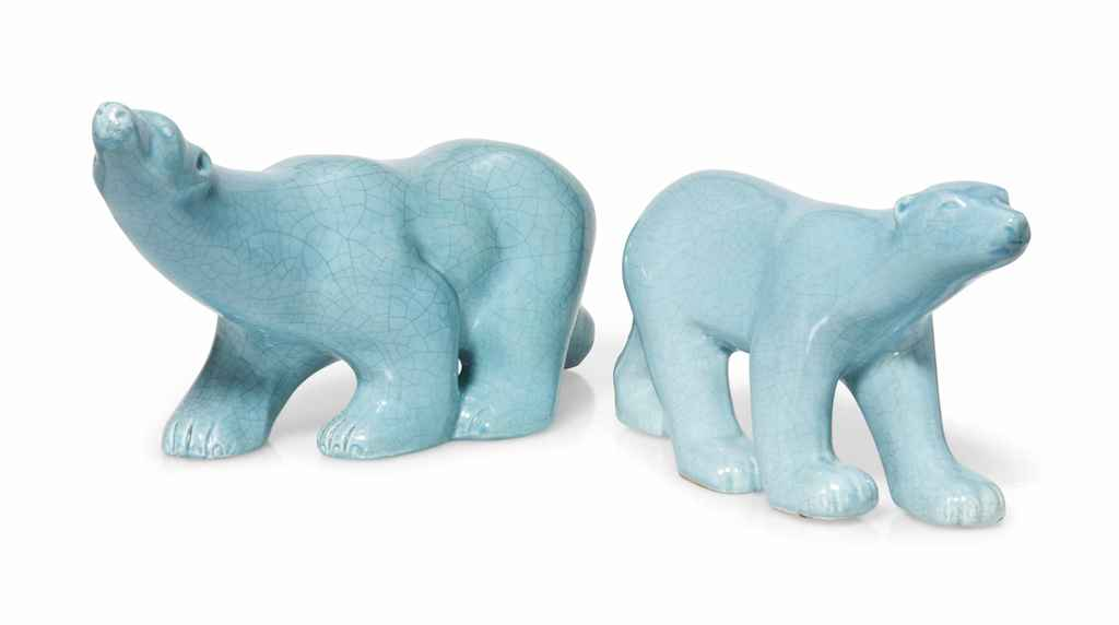 TWO EARTHENWARE CRACKLE-GLAZED POLAR BEARS BY L AND V CERAM