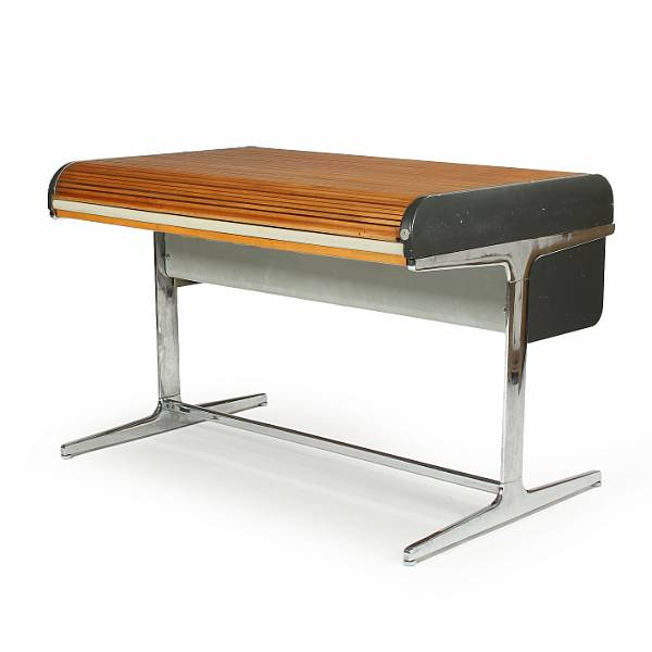 "George Nelson: ""Action Office"". A chromium-plated desk with grey formica top and wooden roll top. Manufactured by Herman Miller. H. 83. L. 123. W. 83 cm."