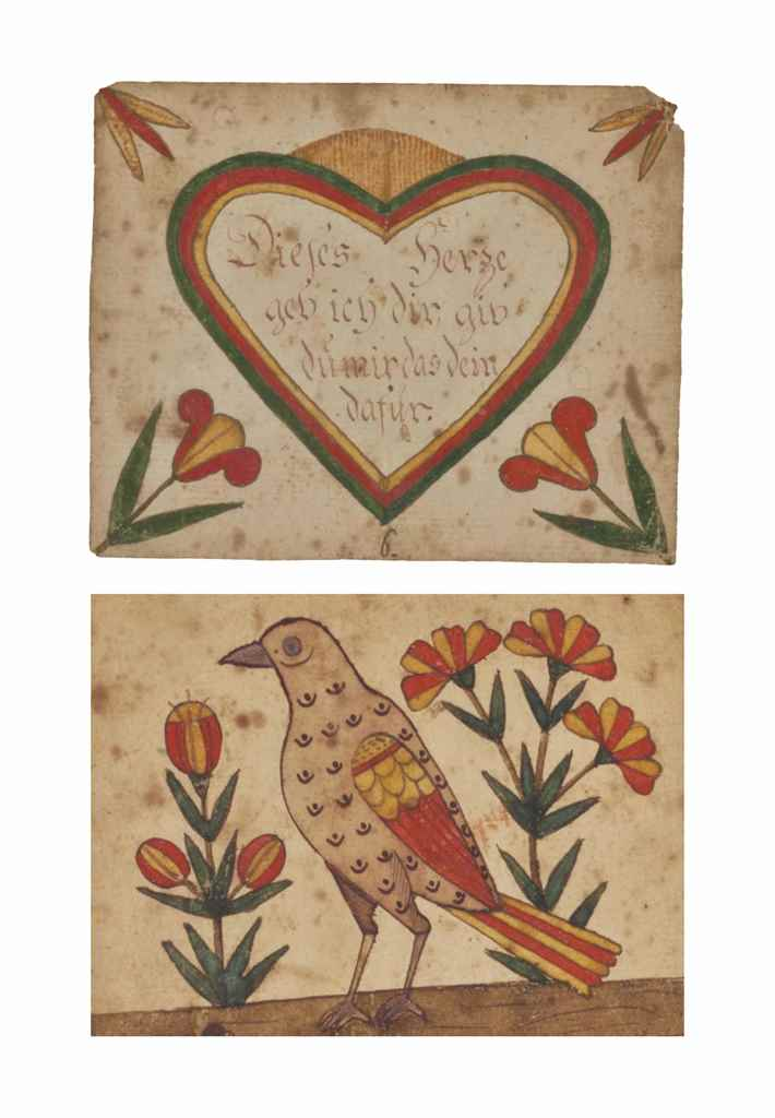 A RED AND YELLOW BIRD AND FLOWERS AND A RED AND YELLOW HEART WITH FLOWERS: TWO FRAKTUR BOOKMARKS