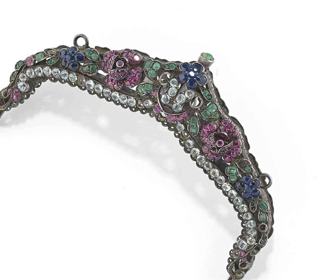 An antique gem-set handbag frame