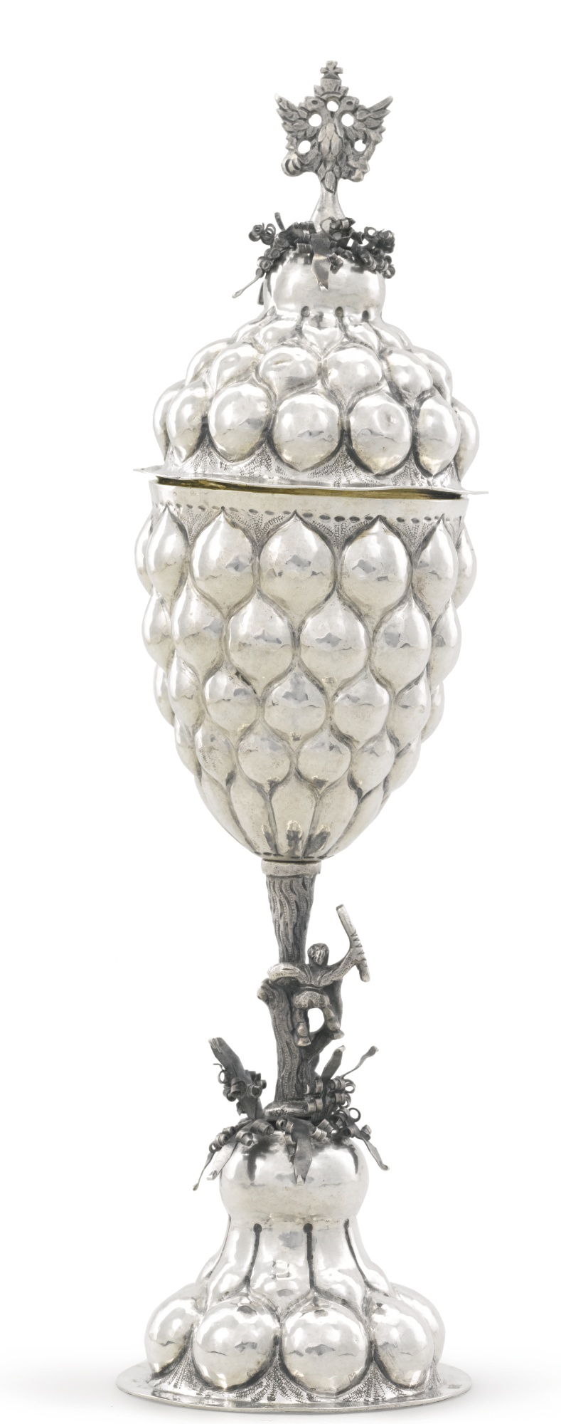 A silver pineapple cup and cover, Gavrila Zon, Moscow, 1762
