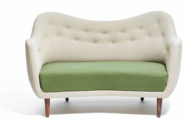 Finn Juhl: Freestanding two seater sofa with Brazilian rosewood legs. Sides and back with light wool, seat with green wool. Manufactured by Bovirke. L. 130 cm.