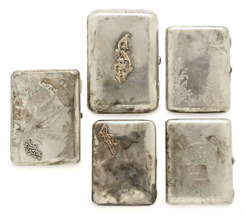FIVE RUSSIAN SILVER CIGARETTE CASES,