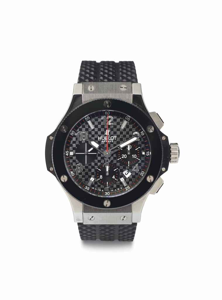 Hublot. A Black Ceramic and Stainless Steel Chronograph Wristwatch with Date
