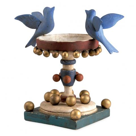 Attributed to John Scholl (1827-1916) Painted Wood Decorative Birdbath; Together with Three Books Related to John Scholl