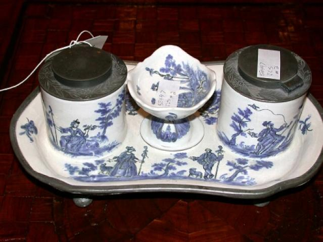 French Faience Inkwell