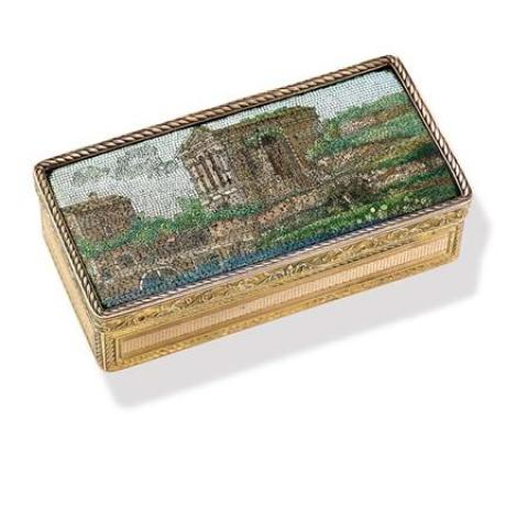 Antique Gold and Micromosaic Box