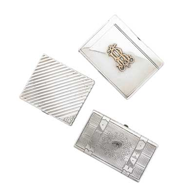THREE SILVER CIGARETTE CASES;...
