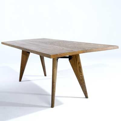 JEAN PROUVE (Attr.); Oak dining...