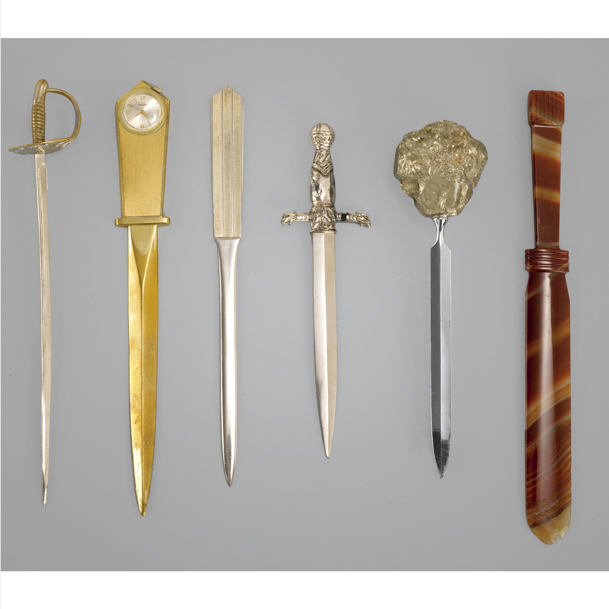 Six metal letter openers, modern