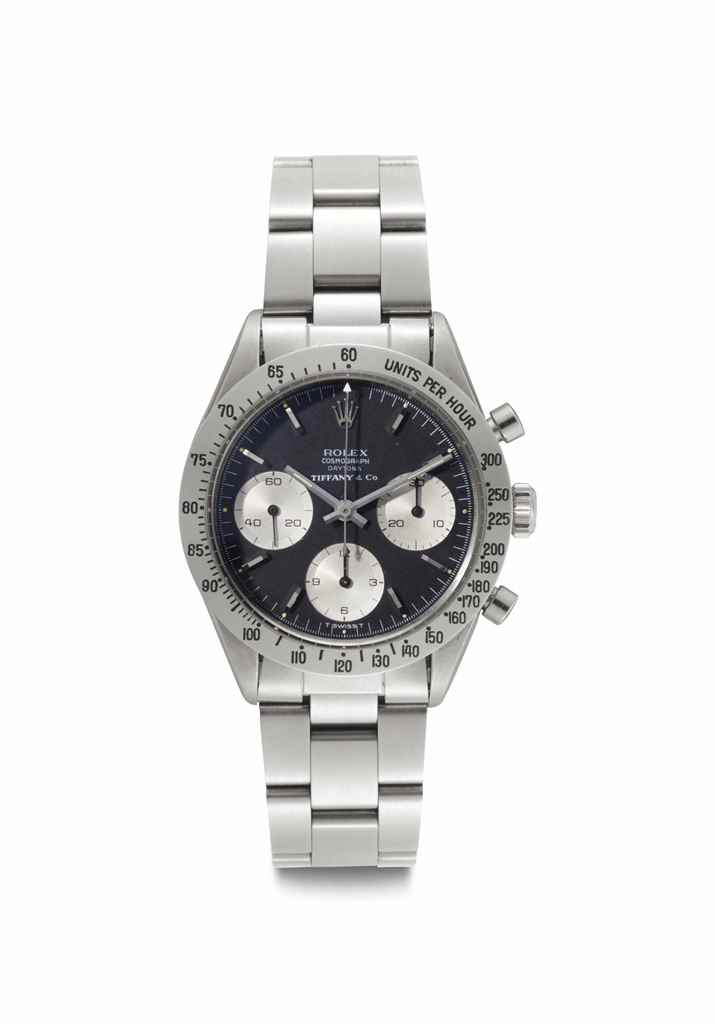 Rolex. A Very Rare and Attractive Stainless Steel Chronograph Wristwatch with Black Dial