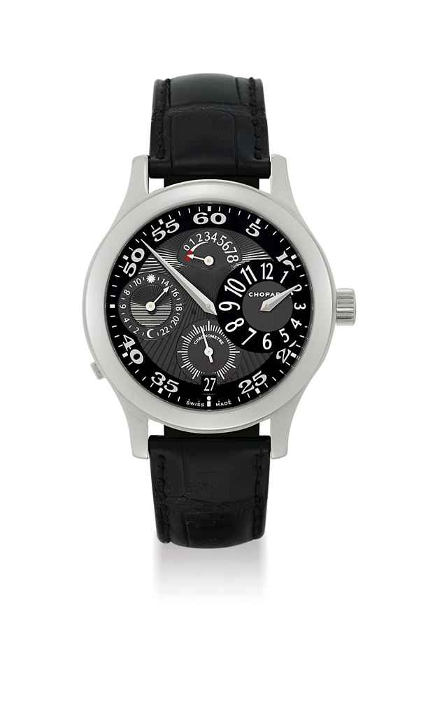 CHOPARD. A STAINLESS STEEL LIMITED EDITION FOUR BARREL 8-DAY DUAL TIME WRISTWATCH WITH REGULATOR DIAL, POWER RESERVE AND DATE