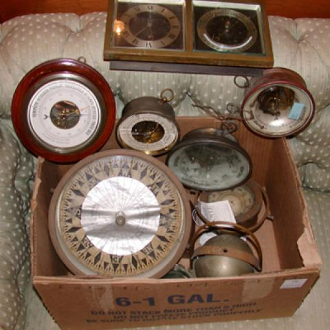 Miscellaneous Group of Nine Compasses and Barometers
