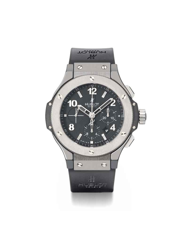 Hublot. A large black ceramic and titanium automatic chronograph wristwatch with date and box