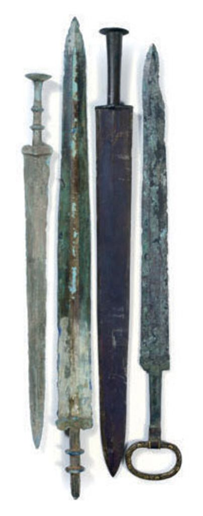 FOUR CHINESE BRONZE SWORDS,