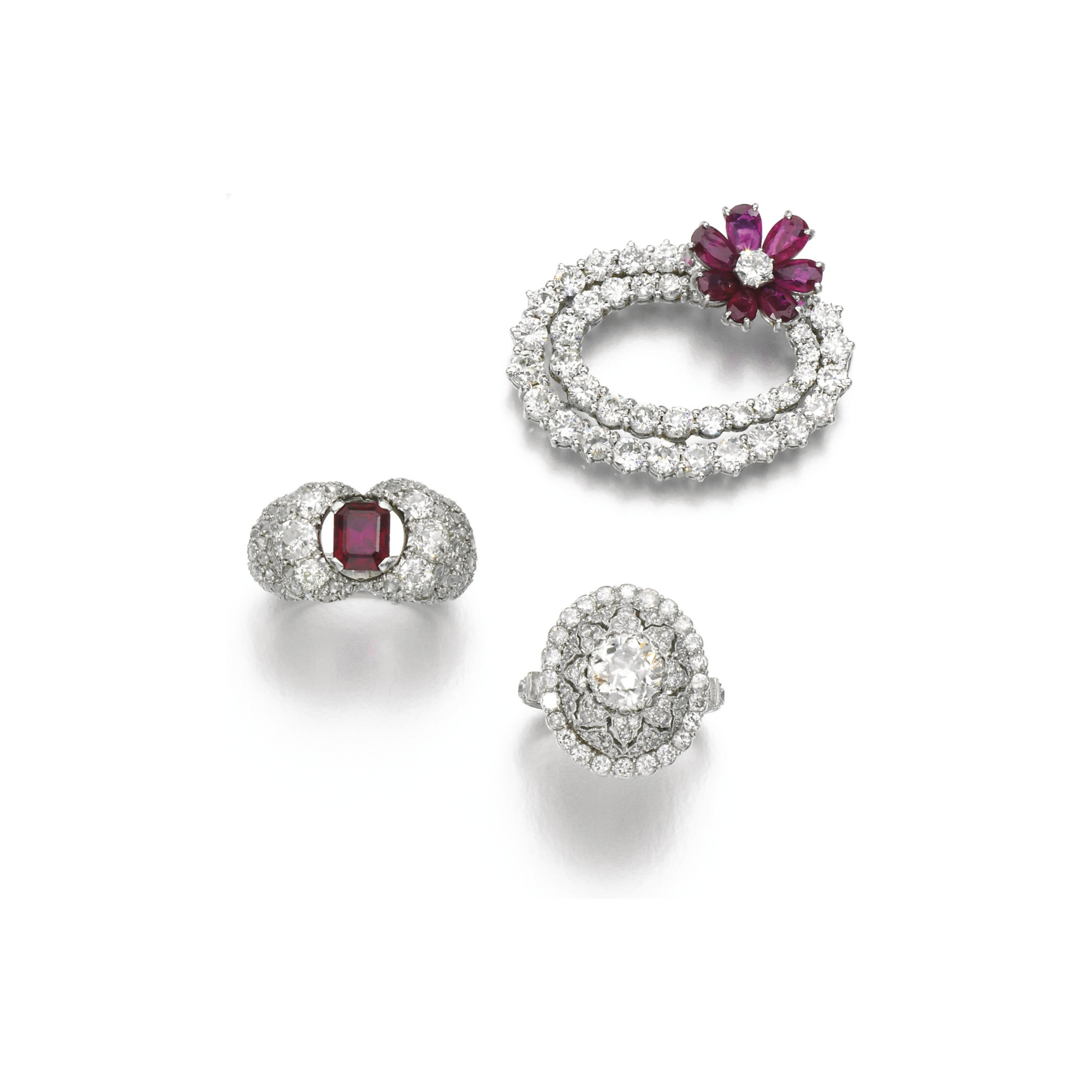 Collection of ruby and diamond jewels, one ring Buccellati, circa 1950 and later