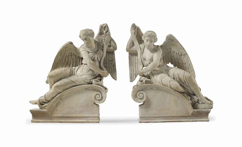 A PAIR OF ARTIFICIAL STONE ARCHITECTURAL CORBELS