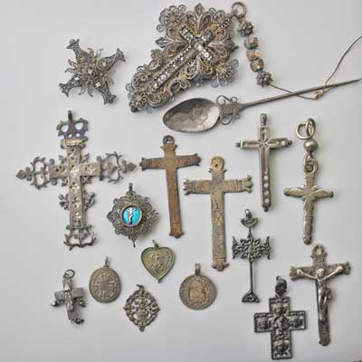 ANTIQUE SILVER CROSSES AND TOKENS;...