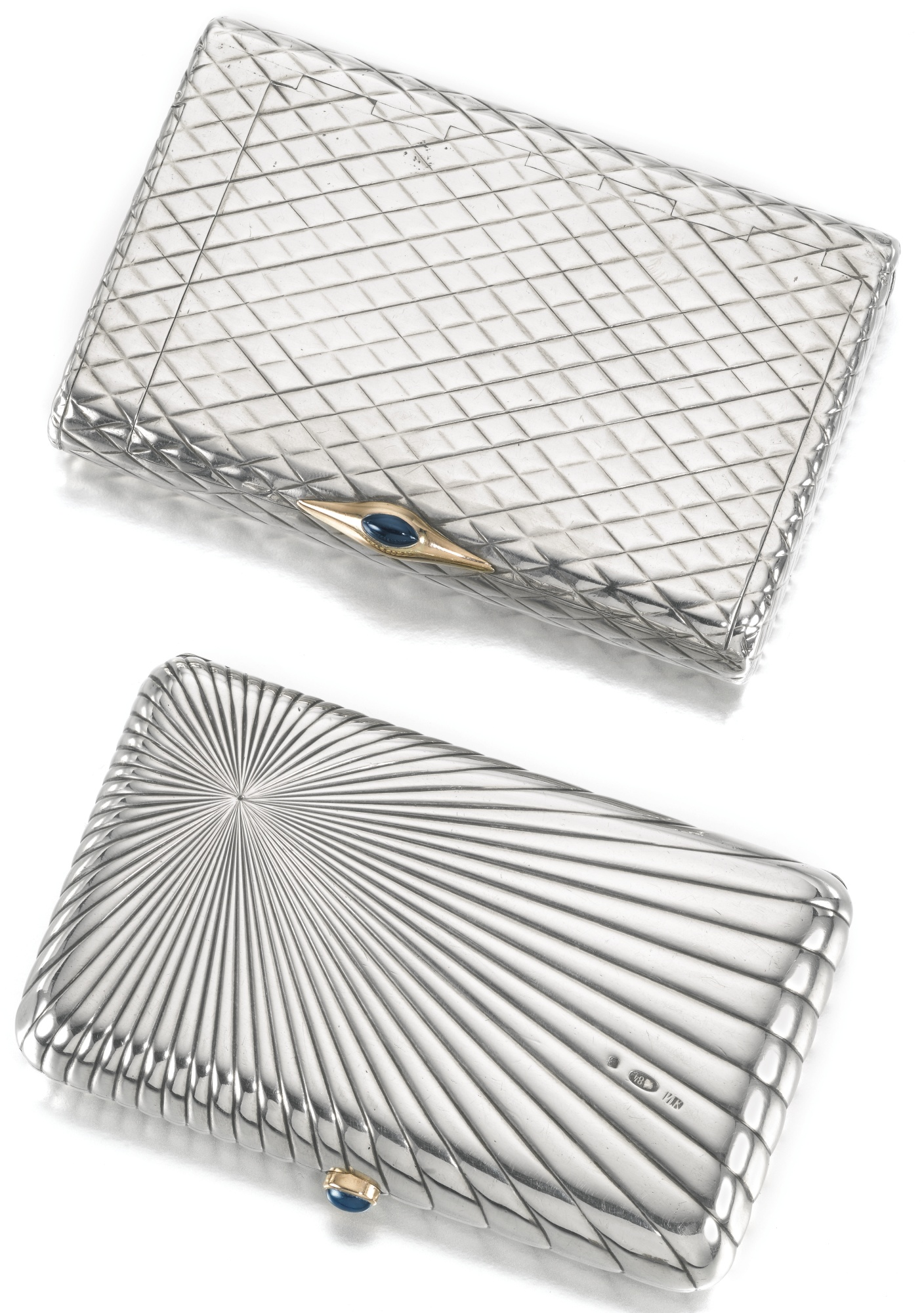 Two silver cigarette cases