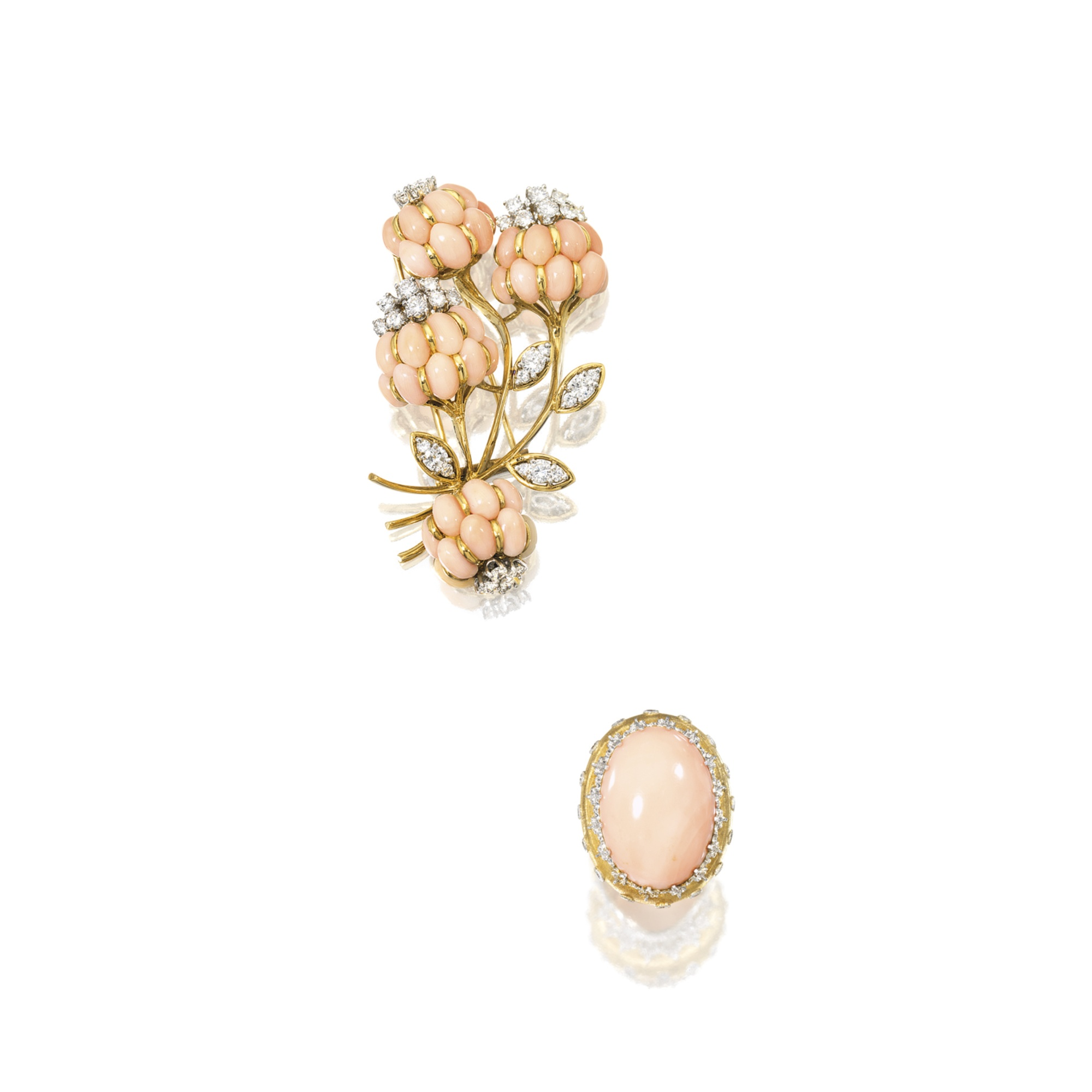 Coral and Diamond Ring, Buccellati; and Coral and Diamond 'Flower' Brooch