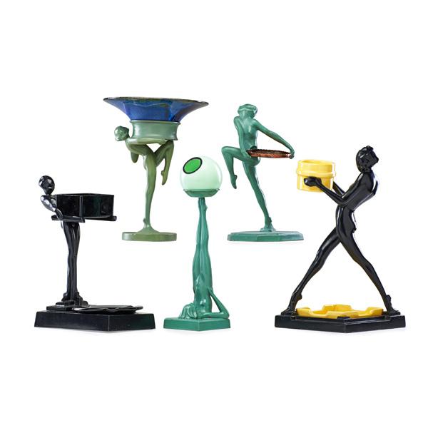 FRANKART Five figural ashtrays