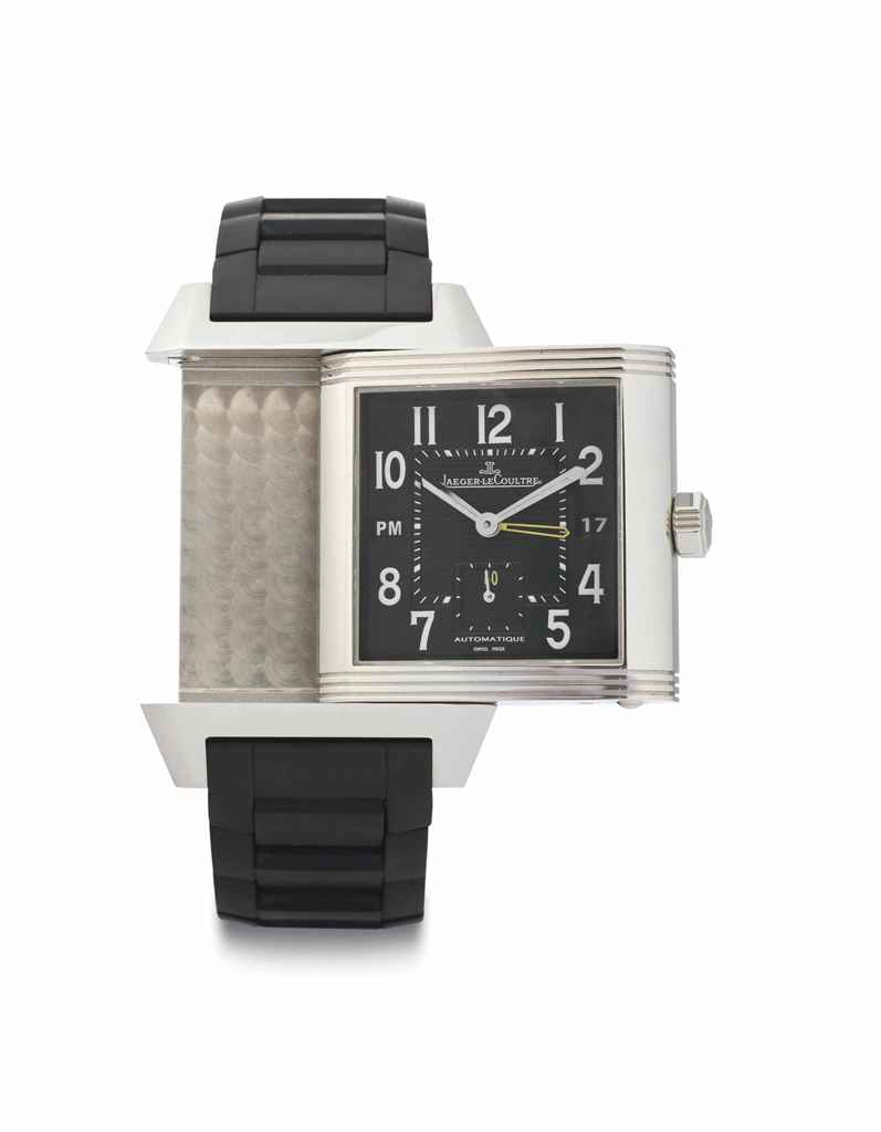 Jaeger-LeCoultre. A Large Limited Edition Stainless Steel Automatic Dual Time Reverso Wristwatch with Date