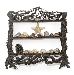 A RUSTIC PINE AND ROOTWOOD HANGING SHELF WITH A COLLECTION OF SEA SHELLS