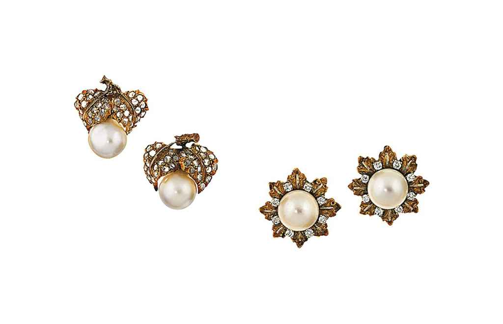 Two pairs of cultured pearl and diamond earrings, by Buccellati