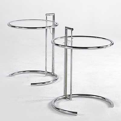 EILEEN GRAY; Pair of chrome and...