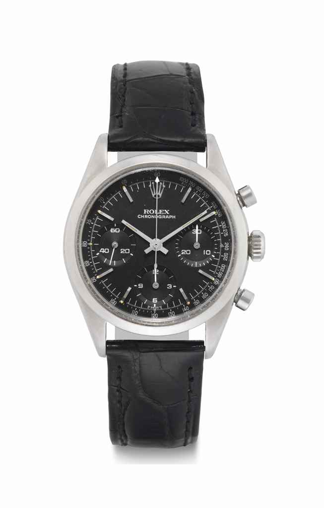 Rolex. A Fine and Rare Stainless Steel Chronograph Wristwatch with Black Dial