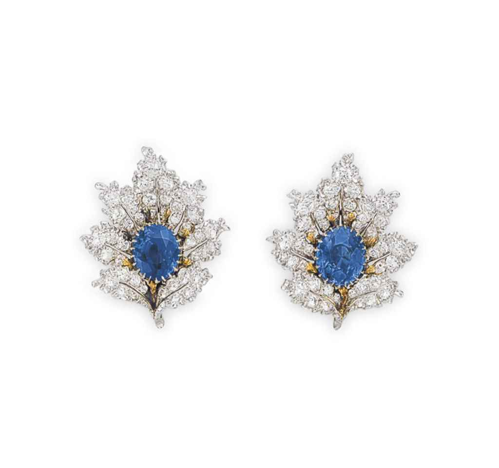 A PAIR OF SAPPHIRE AND DIAMOND EAR CLIPS, BY BUCCELLATI