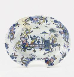 A pewter-mounted blue and white Hanau faience jug