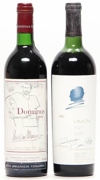 1 bt. Opus One, Mondavi & Rothschild, Napa Valley 1986 B (ts/us).  etc. Total 2 bts.