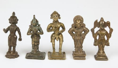 5 Antique Indian Bronze Statues