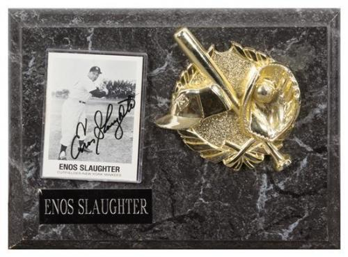 An Enos Slaughter Autographed Baseball Card Card 3 1/2 x 2 1/2 inches.