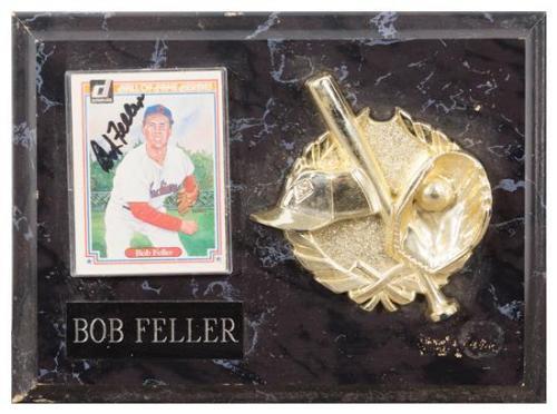 A Bob Feller Autographed Baseball Card Card 3 1/2 x 2 1/2 inches.