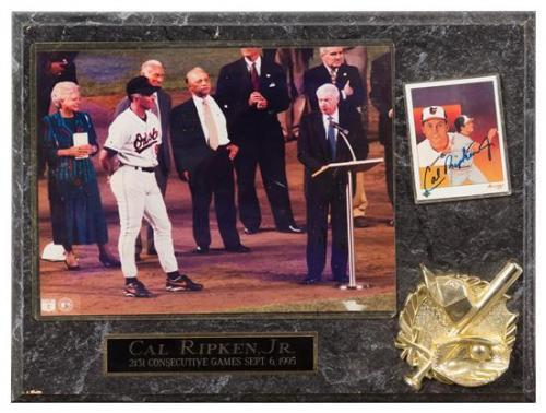 A Cal Ripkin Jr. Autographed Baseball Card Card 3 1/2 x 2 1/2 inches.