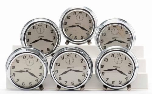 Nest of Alarm Clocks. Colon: Abbott's Magic Novelty Co., ca. 1940s. Set of six nesting metal clocks, with hallmarked dials, to be produced from a hat