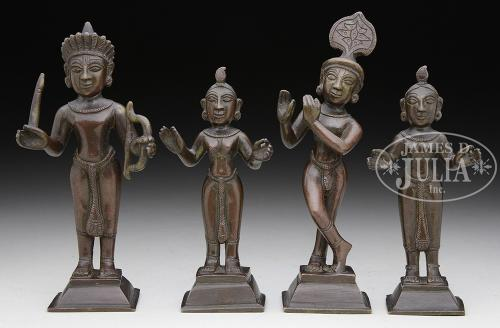 SET OF FOUR BRONZE STATUES.